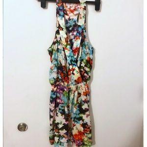 Parker silk floral tie dye dress